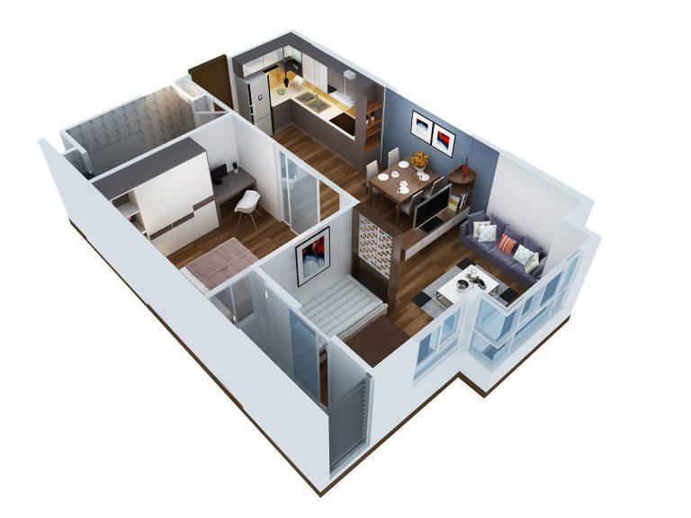 Thiết kế căn hộ 54m2